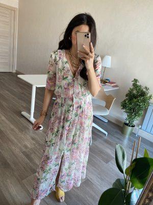 V Yaka Çiçek Desenli Şifon Elbise