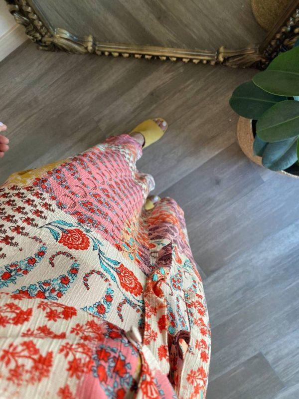 Asimetrik Kesim Patchwork Elbise