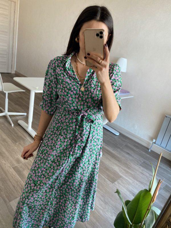 Yeşil/Pembe Çiçekli Gömlek Yaka Elbise
