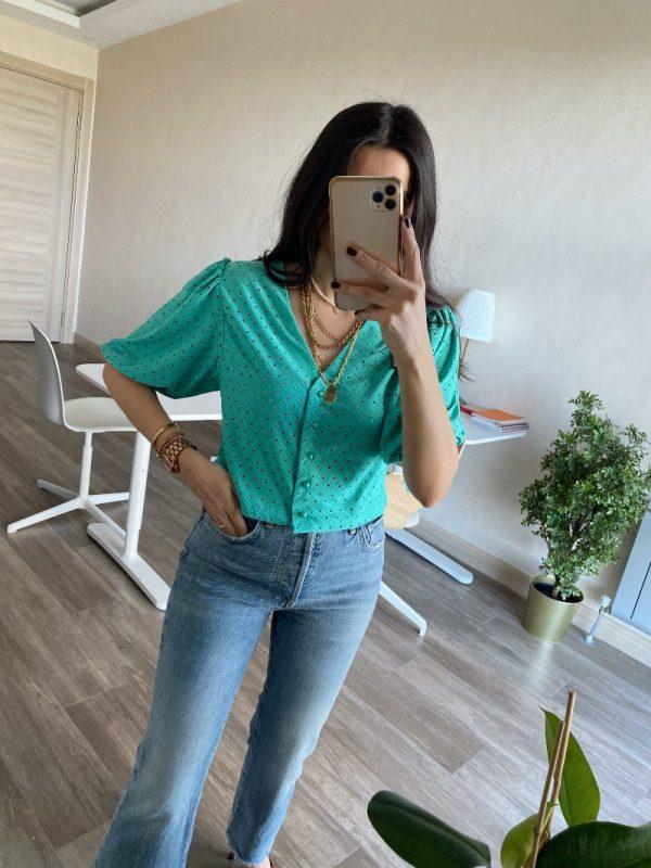 Yeşil Balon Kol Delikli Bluz